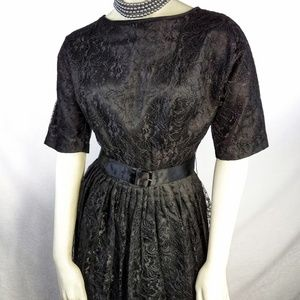 Vintage 50s Lace Overlay Evening Party Dress